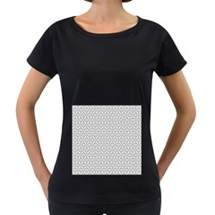 Seamless Pattern Monochrome Repeat Women s Loose Fit T Shirt (black)