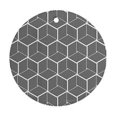Cube Pattern Cube Seamless Repeat Ornament (round)
