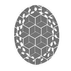 Cube Pattern Cube Seamless Repeat Oval Filigree Ornament (two Sides)