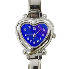 Blue Background Abstract Blue Heart Italian Charm Watch