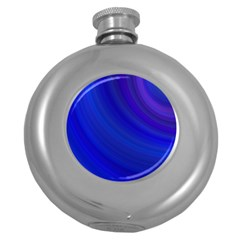 Blue Background Abstract Blue Round Hip Flask (5 Oz)
