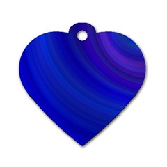 Blue Background Abstract Blue Dog Tag Heart (two Sides)