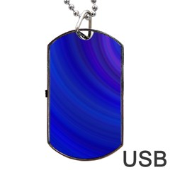 Blue Background Abstract Blue Dog Tag Usb Flash (two Sides)