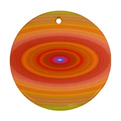 Ellipse Background Orange Oval Round Ornament (two Sides)