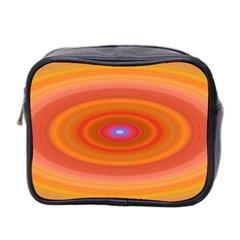 Ellipse Background Orange Oval Mini Toiletries Bag 2 Side