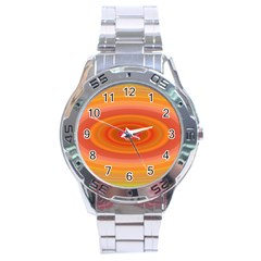 Ellipse Background Orange Oval Stainless Steel Analogue Watch