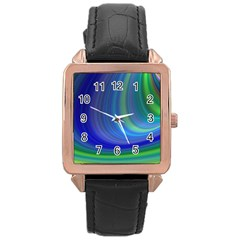 Space Design Abstract Sky Storm Rose Gold Leather Watch