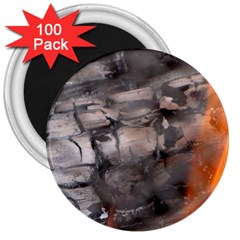 Fireplace Flame Burn Firewood 3  Magnets (100 Pack)