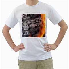 Fireplace Flame Burn Firewood Men s T Shirt (white) (two Sided)
