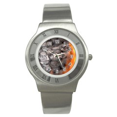 Fireplace Flame Burn Firewood Stainless Steel Watch