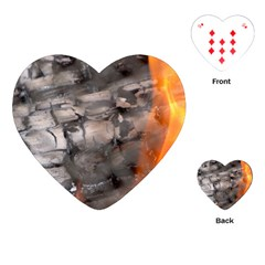 Fireplace Flame Burn Firewood Playing Cards (heart)