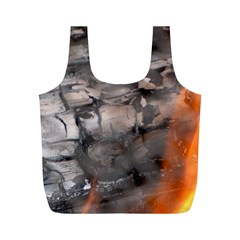 Fireplace Flame Burn Firewood Full Print Recycle Bags (m)