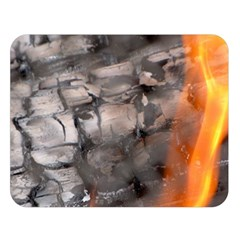 Fireplace Flame Burn Firewood Double Sided Flano Blanket (large)