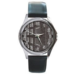 Graphics House Brick Brick Wall Round Metal Watch