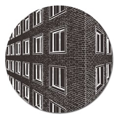 Graphics House Brick Brick Wall Magnet 5  (round)