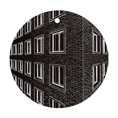 Graphics House Brick Brick Wall Round Ornament (two Sides)
