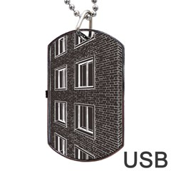 Graphics House Brick Brick Wall Dog Tag Usb Flash (one Side)