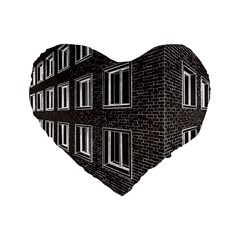 Graphics House Brick Brick Wall Standard 16  Premium Flano Heart Shape Cushions