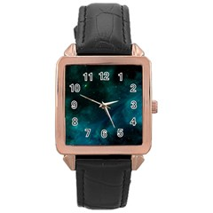 Space All Universe Cosmos Galaxy Rose Gold Leather Watch