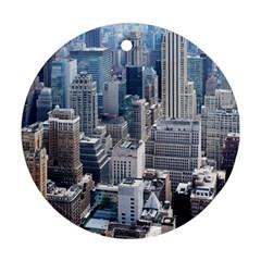 Manhattan New York City Round Ornament (two Sides)