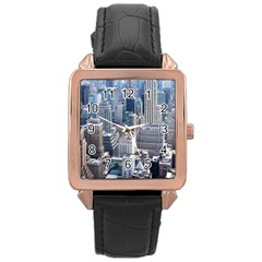 Manhattan New York City Rose Gold Leather Watch