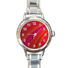 Abstract Red Background Fractal Round Italian Charm Watch