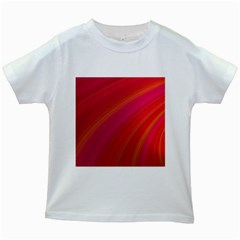 Abstract Red Background Fractal Kids White T Shirts