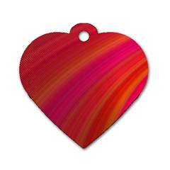 Abstract Red Background Fractal Dog Tag Heart (one Side)