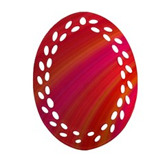 Abstract Red Background Fractal Oval Filigree Ornament (two Sides)