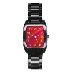 Abstract Red Background Fractal Stainless Steel Barrel Watch