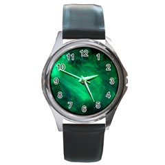 Green Space All Universe Cosmos Galaxy Round Metal Watch