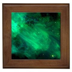 Green Space All Universe Cosmos Galaxy Framed Tiles
