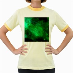 Green Space All Universe Cosmos Galaxy Women s Fitted Ringer T Shirts