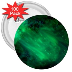 Green Space All Universe Cosmos Galaxy 3  Buttons (100 Pack)
