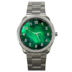 Green Space All Universe Cosmos Galaxy Sport Metal Watch