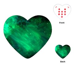 Green Space All Universe Cosmos Galaxy Playing Cards (heart)