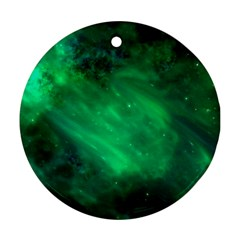 Green Space All Universe Cosmos Galaxy Round Ornament (two Sides)