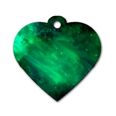 Green Space All Universe Cosmos Galaxy Dog Tag Heart (two Sides)