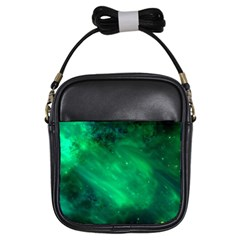 Green Space All Universe Cosmos Galaxy Girls Sling Bags