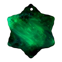Green Space All Universe Cosmos Galaxy Ornament (snowflake)