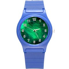 Green Space All Universe Cosmos Galaxy Round Plastic Sport Watch (s)