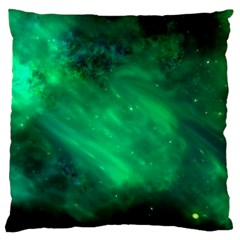 Green Space All Universe Cosmos Galaxy Large Flano Cushion Case (one Side)