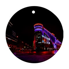 Moscow Night Lights Evening City Ornament (round)
