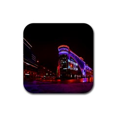 Moscow Night Lights Evening City Rubber Square Coaster (4 Pack)