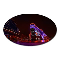 Moscow Night Lights Evening City Oval Magnet