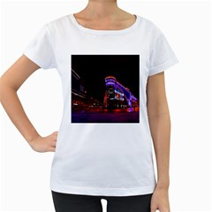 Moscow Night Lights Evening City Women s Loose Fit T Shirt (white)