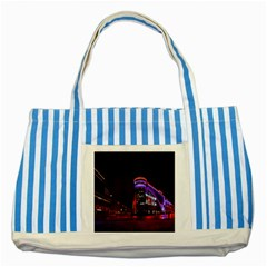 Moscow Night Lights Evening City Striped Blue Tote Bag