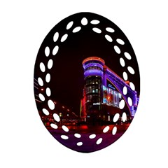 Moscow Night Lights Evening City Oval Filigree Ornament (two Sides)