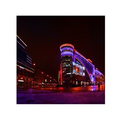 Moscow Night Lights Evening City Small Satin Scarf (square)