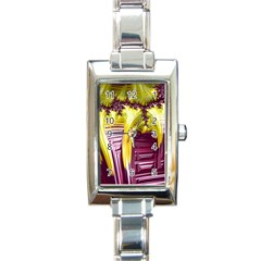 Yellow Magenta Abstract Fractal Rectangle Italian Charm Watch